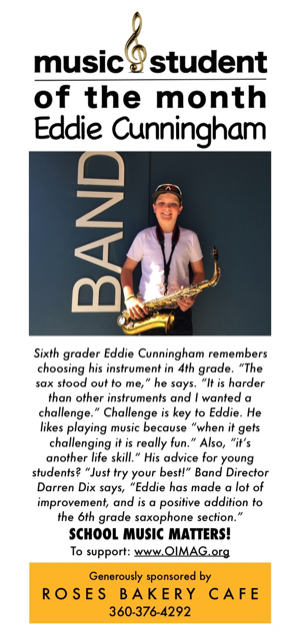 2018 5 Music student of the month ad May 2018 - Eddie Cunningham
