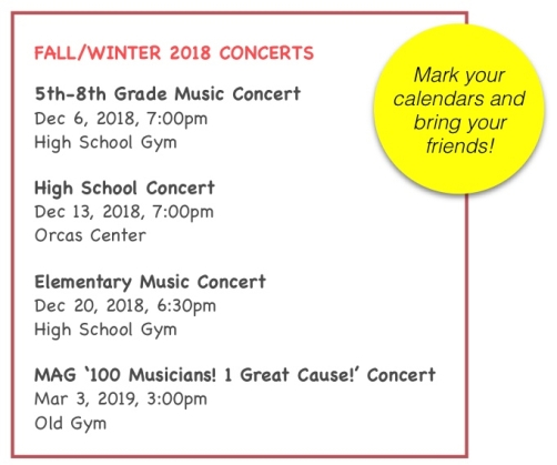 Fall:Winter 2018 Concert schedule image