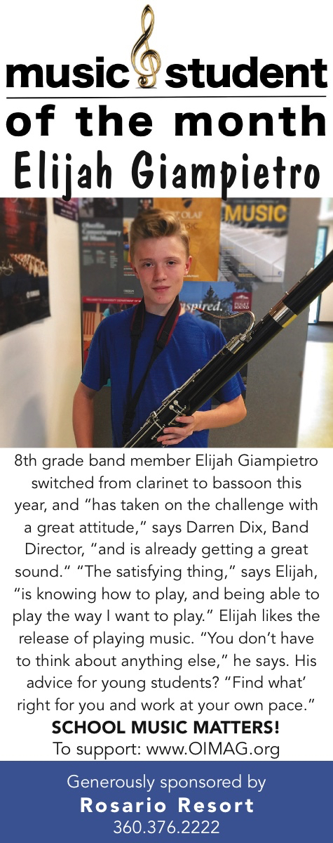 Music Student of the Month 2018 November - Elijah Giampietro